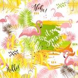Картина лета тропическая безшовная абстрактная с листьями и фламинго ладони иллюстрация штока