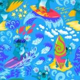 Картина милых серферов коалы безшовная иллюстратор иллюстрации руки чертежа угля щетки нарисованный как взгляд делает пастель к т бесплатная иллюстрация