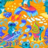 Картина милых серферов коалы безшовная иллюстратор иллюстрации руки чертежа угля щетки нарисованный как взгляд делает пастель к т иллюстрация вектора