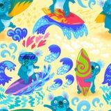 Картина милой руки океана прибоя коалы вычерченная безшовная иллюстрация штока