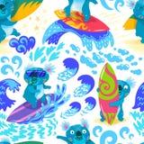 Картина милой руки океана прибоя коалы вычерченная безшовная иллюстрация вектора