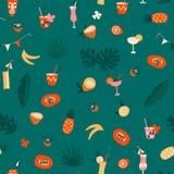 Картина плодов и заводов современного экзотического тропического tiki гавайская безшовная в векторе иллюстрация штока