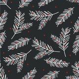 Картина праздника безшовная с елевой ветвью рождество украсило вал иллюстрации иллюстрация вектора