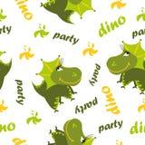 картина динозавра безшовная Животная белая предпосылка с зеленым dino также вектор иллюстрации притяжки corel бесплатная иллюстрация