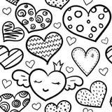 Картина сердец Doodle безшовная иллюстрация вектора
