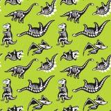 Картина силуэтов скелетов динозавров безшовная также вектор иллюстрации притяжки corel иллюстрация вектора