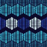 Картина этнического boho безшовная Формы голубых шестиугольников орнамент традиционный картина соплеменная Фольклорный мотив иллюстрация вектора