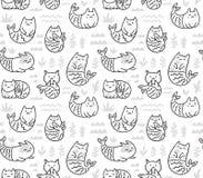Картина чернил безшовная с милыми русалками котов в подводном мире бесплатная иллюстрация