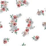 Картина руки вектора вычерченная безшовная, графическая иллюстрация с цветками, листьями, чертежом эскиза ветви, стилем doodle на иллюстрация вектора