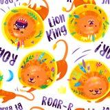 Картина руки вычерченная безшовная львов с пер и листьев в его волосах иллюстратор иллюстрации руки чертежа угля щетки нарисованн иллюстрация вектора