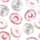 Картина Donuts безшовная Донуты акварели иллюстрация вектора