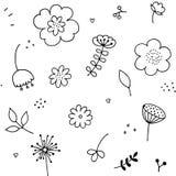 Картина Doodle флористическая безшовная Элементы Yfnd вычерченные простые флористические иллюстрация вектора