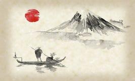 Картина sumi-e Японии традиционная Иллюстрация индийских чернил Человек и шлюпка большие горы горы ландшафта Заход солнца, сумрак бесплатная иллюстрация