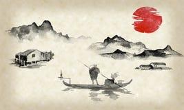 Картина sumi-e Японии традиционная Иллюстрация индийских чернил Человек и шлюпка Заход солнца, сумрак Японское изображение бесплатная иллюстрация