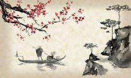 Картина sumi-e Японии традиционная Иллюстрация индийских чернил Человек и шлюпка Заход солнца, сумрак Японское изображение иллюстрация вектора