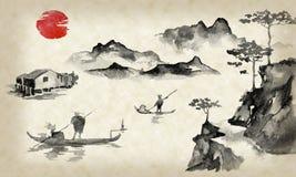 Картина sumi-e Японии традиционная Иллюстрация индийских чернил Человек и шлюпка Заход солнца, сумрак Японское изображение иллюстрация штока