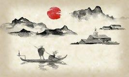 Картина sumi-e Японии традиционная Иллюстрация индийских чернил Человек и шлюпка большие горы горы ландшафта Заход солнца, сумрак иллюстрация штока