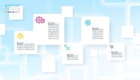 Квадратное infographics с голубой абстрактной предпосылкой иллюстрация вектора