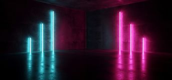 Киберпанка пурпура пинка Sci Fi шоу лазера светов голубого неонового футуристического накаляя комната Hall этапа ретро современно иллюстрация штока