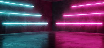 Киберпанка пурпура пинка Sci Fi шоу лазера светов голубого неонового футуристического накаляя комната Hall этапа ретро современно иллюстрация вектора