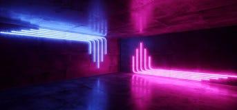 Киберпанка пурпура пинка Sci Fi шоу лазера светов голубого неонового футуристического накаляя комната Hall этапа ретро современно бесплатная иллюстрация