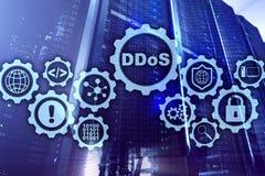 Кибер атака DDoS Технология, интернет и концепция сети защиты Предпосылка datacenter сервера стоковые изображения