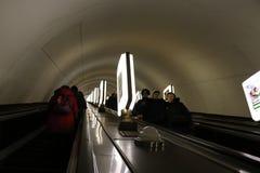 Киев, Украин Взгляд станции метро Arsenalna, самой глубокой станции в мире стоковые изображения