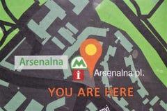 Киев, Украин Взгляд станции метро Arsenalna, самой глубокой станции в мире стоковая фотография