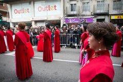 Китайские танец Нового Года и парад в районе Usera, Мадрид, Испания стоковое фото
