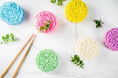 Китайские mooncakes snowskin стоковое изображение