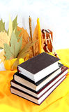 Книги. Pile of books against autumn leaves and thin candles Stock Images
