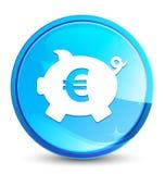 Кнопка выплеска значка знака евро копилки естественная голубая круглая иллюстрация штока