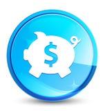 Кнопка выплеска значка знака доллара копилки естественная голубая круглая иллюстрация штока