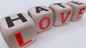 Кубы любов и ненависти деревянные стоковое фото rf