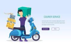 Курьерский сервис Работник доставки почтовый, с письмами, корреспонденция, товары иллюстрация вектора