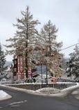 Курорт Swieradow Zdroj, Польша, 14-ое декабря 2018: Пересечение улицы Wczasowa в зиме, северном наклоне гор Jizera стоковая фотография