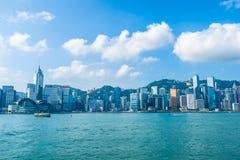 Красивая архитектура строя внешний городской пейзаж горизонта города Гонконга стоковая фотография rf