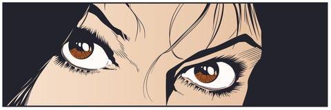 Красивые глаза девушки шток померанца иллюстрации предпосылки яркий иллюстрация штока