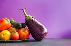Красивые свежие овощи жмут на винтажном подносе Зрелый болгарский перец, желтые красные томаты огурец и баклажан still стоковые изображения