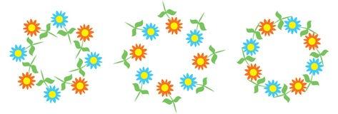 Красивые цветочные узоры в форме венков стоковая фотография