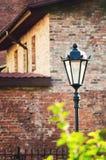 Красивый винтажный уличный фонарь на предпосылке старой кирпичной стены стоковая фотография