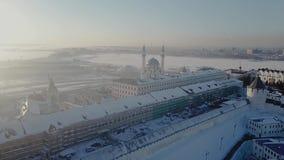 Красивый вид с воздуха в Казани России во время зимы сток-видео