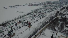 Красивый вид с воздуха в Казани России во время зимы видеоматериал
