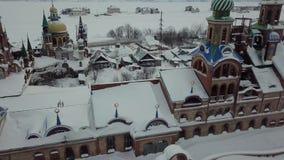 Красивый вид с воздуха Teriberka России во время зимы сток-видео