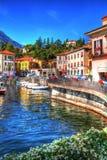 Красивый портовый район Menaggio, озеро Como, Ломбардия, Италия стоковые фотографии rf