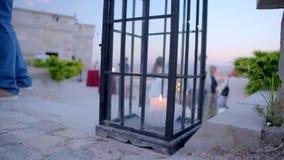 Красивый фонарик со свечой сток-видео