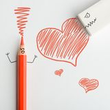 Красные карандаш и ластик стоковые изображения rf