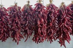 Красные чили Ristras стоковое фото rf
