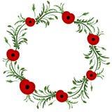Красный цветок мака флористическая рамка обрамляет серию Венок мака Вторая Мировая Война, первая мировая война память дня ветеран иллюстрация штока