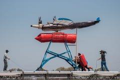 Красное событие Bull Flugtag на парке Yarkon стоковое фото rf